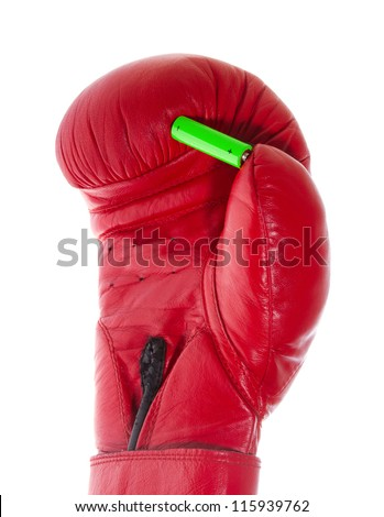 battery in a boxing glove - stock photo