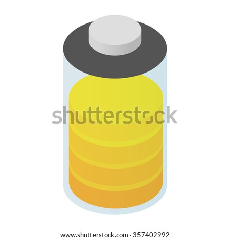 Battery isometric 3d icon for web and mobile devices - stock photo