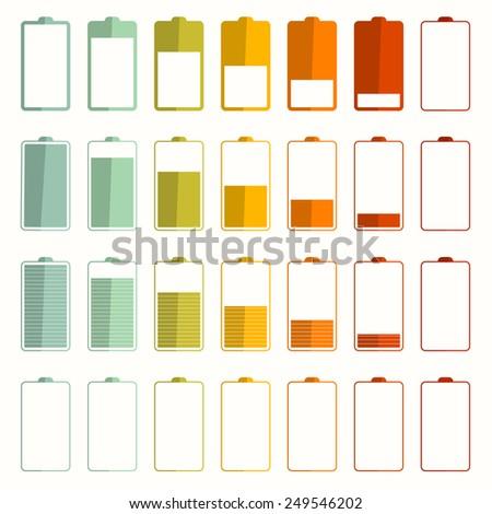Battery Life Icons Set - stock photo