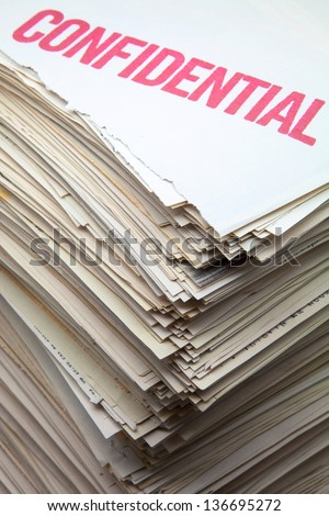 battery of confidential filed documents - stock photo