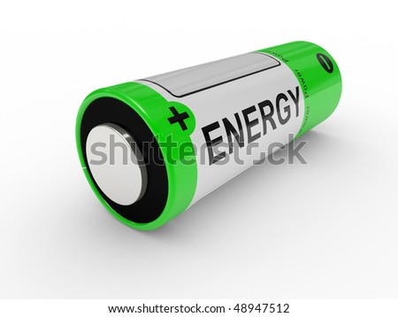 Battery on a white background, safe technologies - stock photo