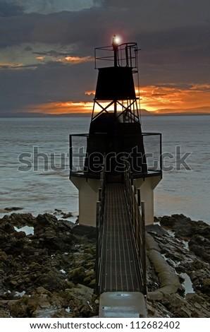 Battery Point Lighthouse, Portishead, UK - stock photo