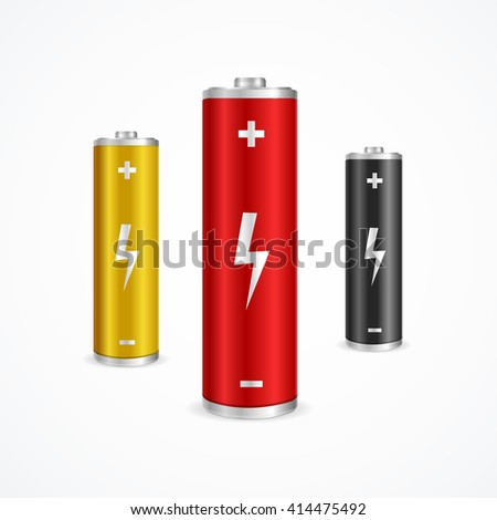 Battery Set Can be Used for Web, in Interfaces. illustration - stock photo