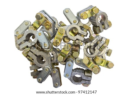 Battery Terminal Connector (positive, negative) - stock photo