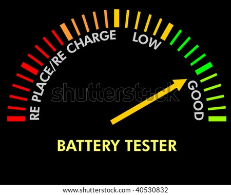 battery testing instrument to test the level of the battery - stock photo