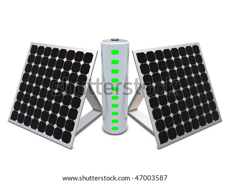 Battery with indicators and solar panels - stock photo