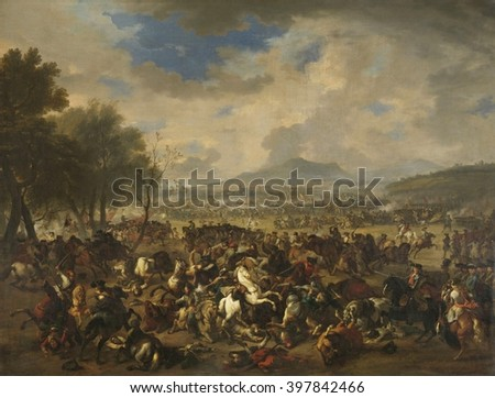 Battle at Ramillies between the French and the Allied Powers, by Jan van Huchtenburg, 1706-10, Dutch painting, oil on canvas. The Battle, fought on May 23, 1706, was a victory of the British-Dutch All - stock photo