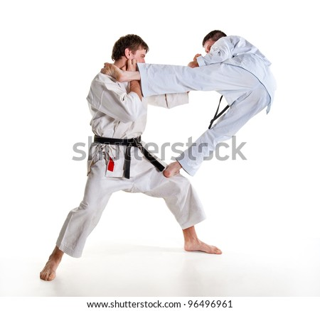 battle blow.figure in the karate fighting stance on a white background.masters of hand-to-hand fight - stock photo