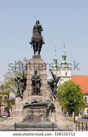 Battle of Grunwald monument In Old Town in Krak�³w - stock photo