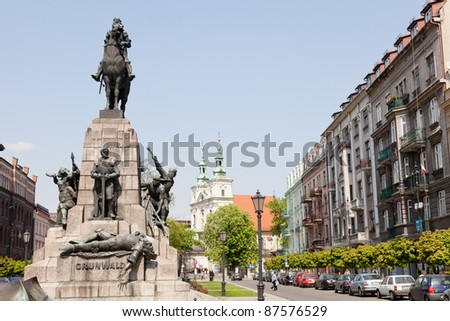 Battle of Grunwald monument In Old Town in Kraków - stock photo