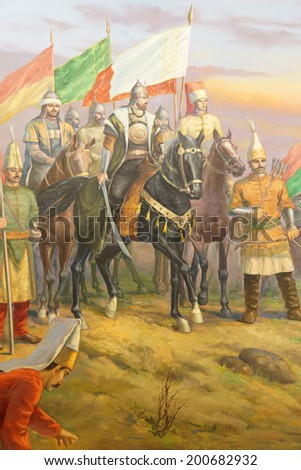 Battle of Mohacs, 1526,  Ottoman victory over Hungary, led by Suleiman the Magnificent,  Askeri Military Museum in Istanbul, Turkey  - stock photo