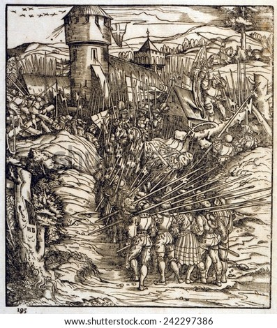 Battle of the early 16th century, troops advancing on a fortress. It possibly depicts a surprise attack on Maastricht (now Netherlands) by Holy Roman Emperor, Maximilian I. Woodcut from 1512-1516. - stock photo