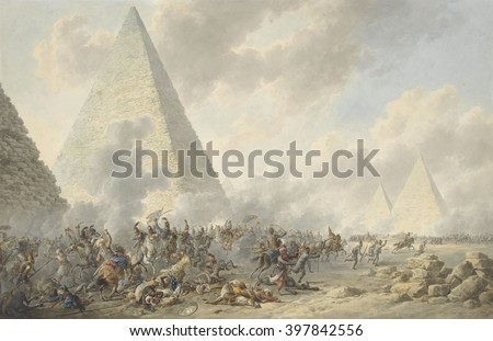 Battle of the Pyramids, Dirk Langendijk, 1803, Dutch watercolor painting. In 1798, Napoleon's French army defeated the Egyptian Mamluks - stock photo