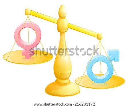 Battle of the sexes concept with male and female symbols being weighed against each other - stock photo