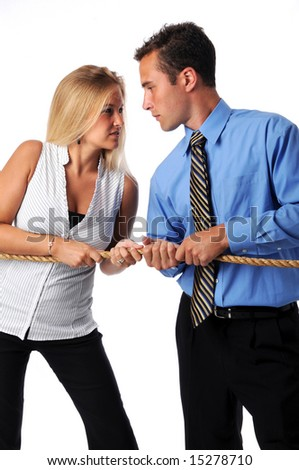 Battle of the sexes in the business world - stock photo