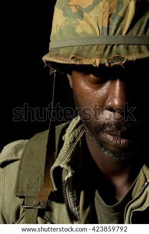 Battle Stressed American Soldier - Vietnam War - stock photo