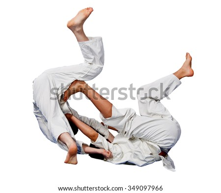Battle throw karate.Sport.The image on a withe background. - stock photo