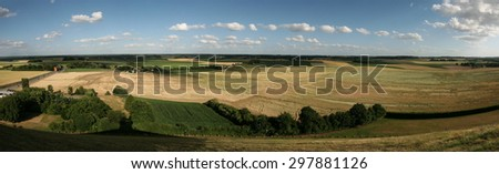 Battlefield of the Battle of Waterloo (1815) near Brussels, Belgium. Panorama from the top of the Lion's Mound.  - stock photo