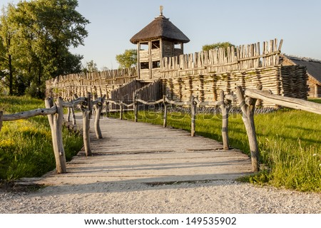 Battlements in Biskupin archaeological museum - Poland. - stock photo