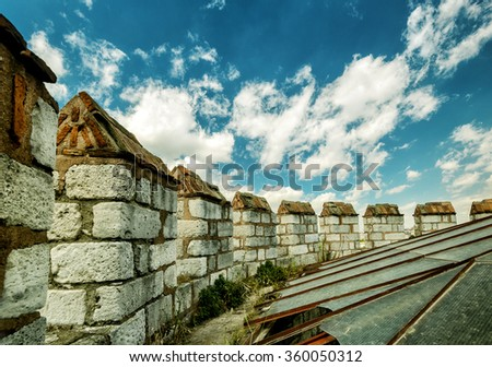 Battlements on top of the tower of the Yedikule Fortress in Istanbul, Turkey - stock photo