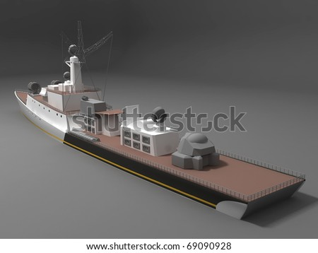 Battleship back view - stock photo