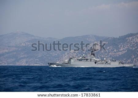 Battleship in mediterranean sea - stock photo