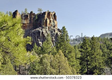 Battleship Rock in Jemez Mountain New Mexico - stock photo
