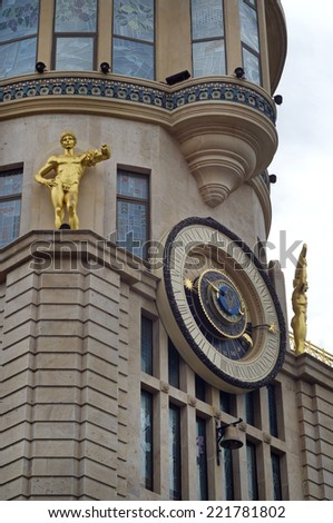 BATUMI, GEORGIA - APRIL 26: Astronomical clock on facade of the building  on April 26, 2014 in Batumi, Georgia. - stock photo