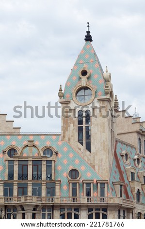 BATUMI, GEORGIA - APRIL 26: Fragment of the building facade  on April 26, 2014 in Batumi, Georgia. - stock photo