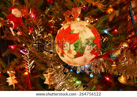 Bauble ornament hanging on the Christmas tree - stock photo