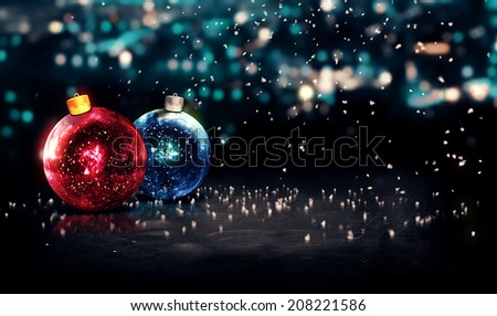 Baubles Christmas Night Bokeh Beautiful 3D Background Red Blue - stock photo