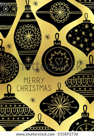 Baubles. Retro Christmas card design. Vintage baubles. Hand drawn baubles. Black baubles on gold foil background. - stock photo