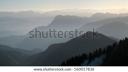 Bavarian Alps, Germany, haze over mountains at a autumn evening - stock photo
