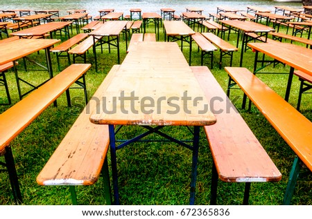 Bavarian Beergarden   Table And Benches At A River