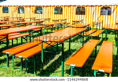 Bavarian Beergarden Table Benches Tent Stock Photo (Royalty Free ...