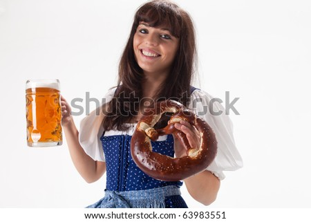 bavarian girl in a costume with beer