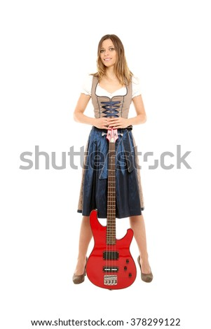 Bavarian girl with bass