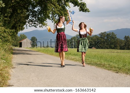 bavarian girls  - stock photo
