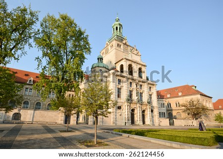 Bavarian National Museum - Facade with main entrance, Munich Bavaria Germany - stock photo