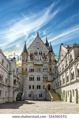 Bavarian palace Castle Neuschwanstein, Bavaria, Germany - stock photo