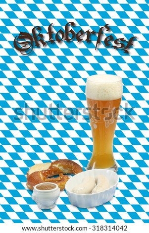 Bavarian veal sausage with mustard, pretzel and beer - stock photo