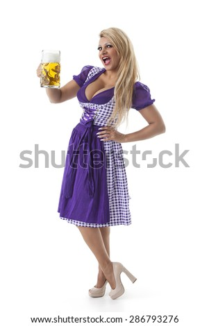 bavarian woman with a beer  - stock photo