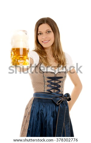 Bavarian woman with beer - stock photo