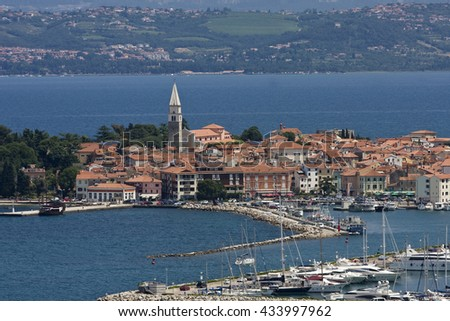 Bay and marina of Izola, Istria, Adria, Slovenia, Europe