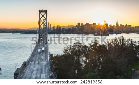 Bay Bridge and San Francisco during Sunset - stock photo