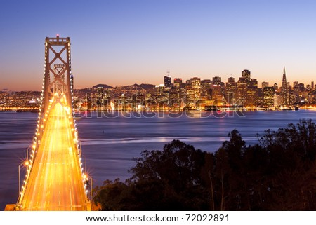 Bay Bridge at sunset and twilight time, San Francisco, United States of America