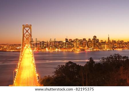 bay bridge at twilight. San Francisco, USA. - stock photo