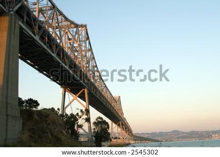 Bay Bridge connecting San Francisco and Oakland - stock photo