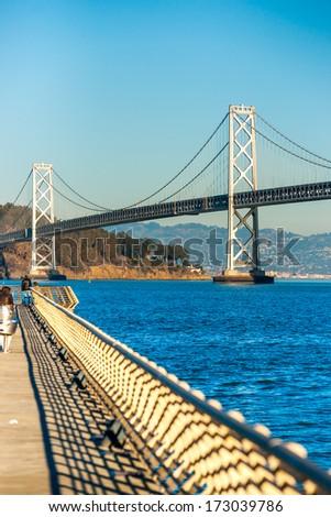 Bay bridge in San Francisco, California, USA. - stock photo