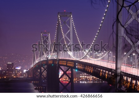 Bay Bridge Rush Hour Traffic San Francisco Transportation - stock photo
